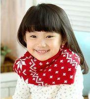 Child scarf muffler thermal winter yarn jacquard cape scarf