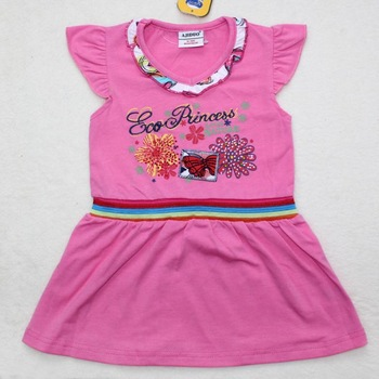 2013 New Arrival summer dress for girls 100% Cotton children frocks fashion designs 6pcs/lot suit 1-6years old kids