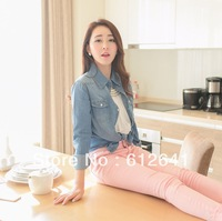 9068 New arrival women's fashion nostalgic vintage long sleeve denim shirt blouse streetwear