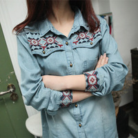 9111 Women's national trend vintage embroidery shirt long sleeve turn-down collar denim shirts blouses
