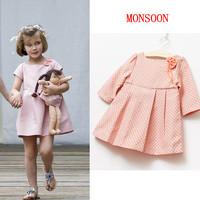 Dan quality boy autumn monsoon female child three quarter sleeve polka dot princess one-piece dress