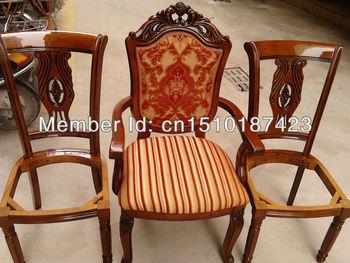 Poltrona cadeira de madeira país da América tecido europeu cadeiras de jantar de carvalho escuro borracha madeira cadeira de jantar