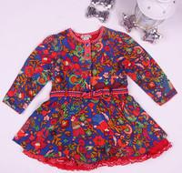 Monsoon autumn female child silk floss long-sleeve fashion dress vintage dress