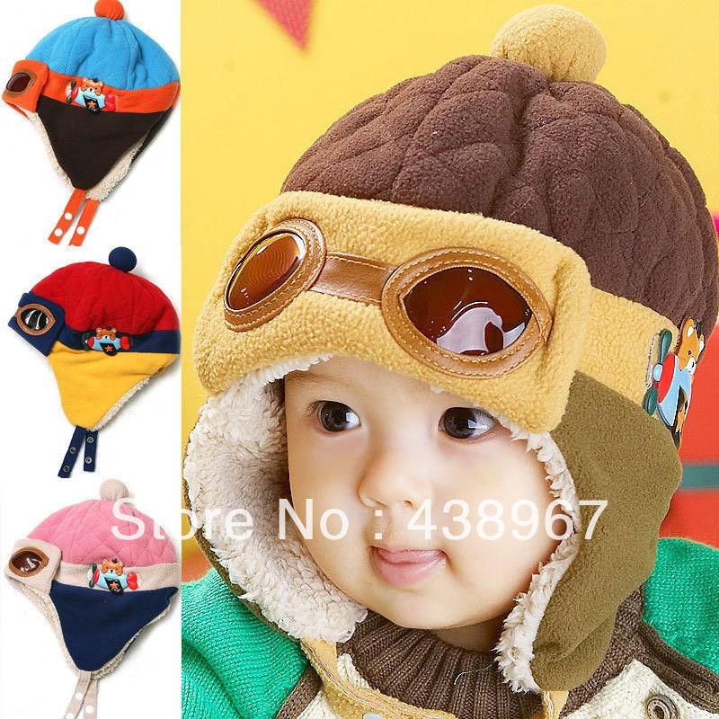 wholesale 4pcs/LOT Cool Baby Toddler Boy Girl Kids Infant Winter Pilot Aviator Warm Cap Hat Beanie(China (Mainland))