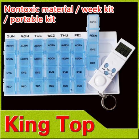 1Pcs/Lot One Week Use Medicine Box with Food Plastic,Portable Kit / MINI Kit Max 28 Tables-Free Shipping(China (Mainland))