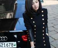 2013 Fall Winter New Navy Sailor Style Women Cashmere Coats Double Breasted PU Leather Patchwork Sleeve Black Long Pea Coats