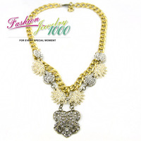 2013 New Vintage Burst Statement Pendant Necklace Fashion Rhinestone Flower  Women Jewelry Free Shipping
