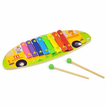 Wood child music teaching aids 8 hand knocking piano toy - - school bus baby musical toys music toys for baby music piano