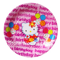 40pcs/lot,child birthday party kit, 7 inch cartooon Pink Hello Kitty paper plate/fruit plate/cake plate.