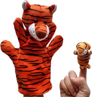 Free shipping 2pcs big and samll tiger Plush Baby Toys cute animal finger doll Finger puppets lowest price here