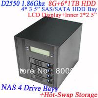 Network Access Server NAS with 4 drive bay hot-swap LCD front panel Intel dual core D2550 8G RAM 6*1TB HDD 2 RJ45 HDMI VGA ESATA