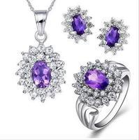 Jewelry sets,amethyst  gems pendants,rings,earrings,sterling silver 925,wedding gift,SP0540A SR1366A SE0023A