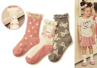 3 pairs Laciness child sock female child 100% cotton socks lace decoration baby infant boy spring and autumn 100% cotton socks