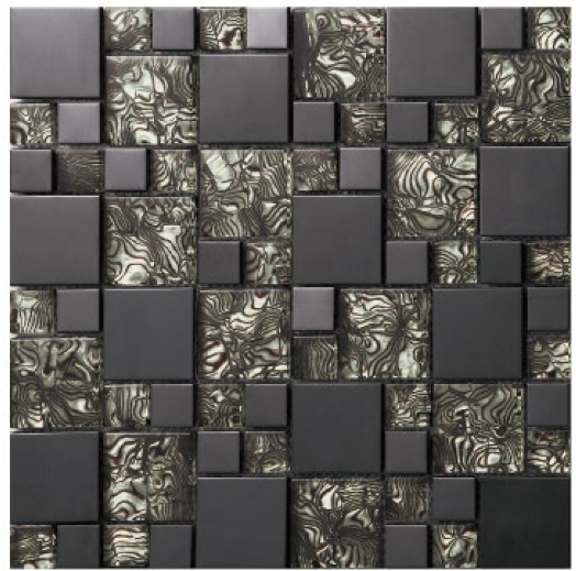 Zwarte Keuken Tegels : Black Glass Mosaic Wall Tiles for Kitchen