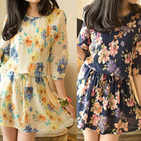 2013 new arrival women's summer slim waist vintage print chiffon one-piece dress female clothing