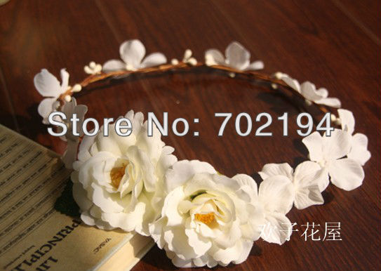 10x Wedding head wreath Bridal flower crown for Wedding bridal headpiece artificial silk rose headband wildflower HZW024(China (Mainland))