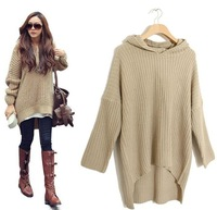 New Fashion 2014 Long Irregular Hem Knitted Women Sweaters/Spring Hooded Sweaters For Women/Casual Women Pullovers Tops