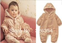 2013 hot sell high quality lovely Baby winter rompers  girls pink rompers 3018