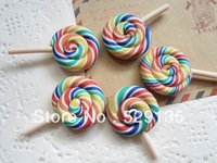 Free Shipping! Min. order is $10 (mix order), very very Cute Clay Rainbow, for Phone Decoration, DIY (29mm)