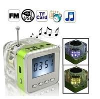 NiZHi TT028 transparent mini speaker with FM radio LED Screen ,Micro SD/TF USB Disk Speaker for MP3/4 30pcs FREE DHL SHIP