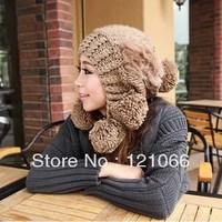Free shipping New arrival Women's Large Balls Rabbit Hair Hats Woolen Yarn Autumn & winter Caps Knitting Warm Cute Beanie hat
