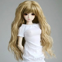 24# Light Brown Crimp/Wavy Wig 1/4 MSD AOD DOD LUTS BJD Dollfie 7-8""