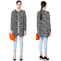 2013 winter new European and American high-quality round neck long-sleeved coat positioning zebra stripes  Wool & Blends