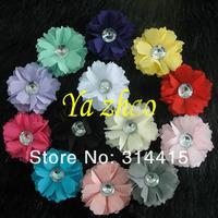 "2'"" New Rhinestone Center Chiffon Tulle Mesh baby hair flower DIY Flower for kids headband 360pcs  mix 13 color, free shipping"