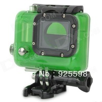 gopro Waterproof Clear Protective Plastic + Stainless Steel Case for GoPro Hero 3 - Green + Black