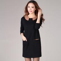 Autumn fashion clothing peter pan collar loose plus size clothing long-sleeve basic black one-piece dress