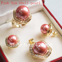 18K Gold plated Pink Sea shell pearl&Austrian crystal Pendant Necklace Earrings Ring Fashion women jewelry sets