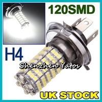10pcs H4 3528 LED 120 SMD White Fog Signal Tail Parking Driving Light Lamp Bulb 12V