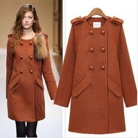 2013 fashion women's blackorange O-neck full sleeve double breasted overcoats.Europe style Elegant intellect  Outerwear 8114