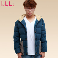 Hehehei2013 male autumn and winter fashion with a hood colorant match design short down coat