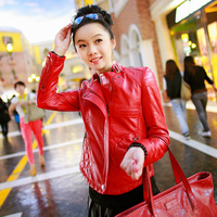 2013 autumn genuine sheepskin leather clothing short design slim outerwear free shipping red colour high quality