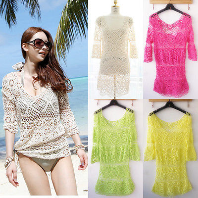 Womens Lace Crochet Bikini Swimwear Cover Up Beach Bathing Suit Dress 3 Colors(China (Mainland))