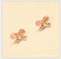 2013 Free Shiping South Korean Accessories Small Delicate Fresh Opal Bowknot Big Eyes Dragonliy  Stud Earring
