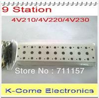 Airtac Solenoid Valve Manifold / Base / Board 4V210-08  Pneumatic Solenoid Valve Manifold 200M-9F 9 Station Free Shipping