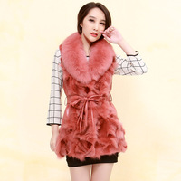 2013 women's fox fur women's genuine leather clothing outerwear p0726 free shipping pink colour high quality