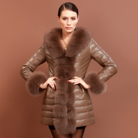 2013 ultralarge autumn and winter fox fur sheepskin female genuine leather clothing down coat free shipping wholesale