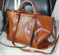 2013 New Wax cowhide work bag portable messenger bag genuine leather handbag women's pinkish purple motorcycle bag