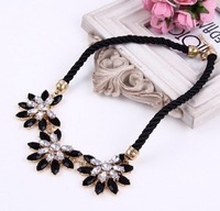 2014 New Arrived Fashion Elegant Three Flower Dill Full Rhinestone Necklace N1298
