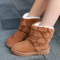 Free shipping Sweet Soft Fur Heart Pattern Women Winter Snow Boots Warm Shoes KE090