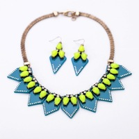 Fashion personality accessories vintage blue triangle pendant women's necklace