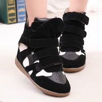 2013 high-top shoes fashion handsome women's shoes platform elevator color block decoration single shoes casual sport shoes plus
