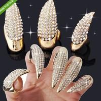 European Fashion Punk Crystal CZ Rhinestone Claw Paw Talon Nail Finger Rings