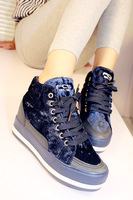 2013 fashion platform paillette street gold velvet casual elevator sports women's high single shoes