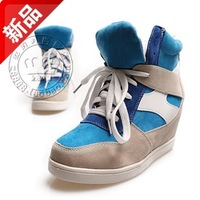 Lacing 2013 autumn color block decoration round toe sneaker elevator all-match high velvet shoes female shoes