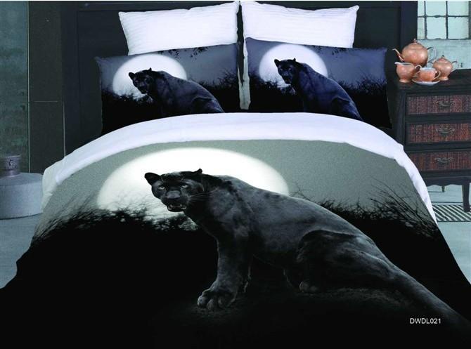 5 delige jongens coole mannen zwarte luipaard animal print 3d koningin beddengoed sets bed - Bed na capitonne zwarte ...