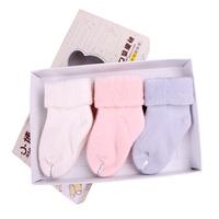 Autumn and winter newborn socks 100% cotton towel thermal baby socks loop pile baby socks relent combed cotton socks